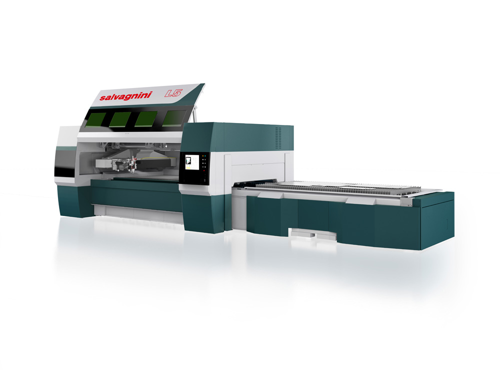 High dynamics laser cutting machines with optic fiber generator Salvagnini L5-30